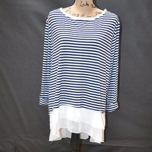 NWT Lily Star Long Striped Blouse Size 3X